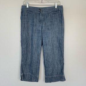 J.Jill chambray linen blend wide leg crop pants 6p